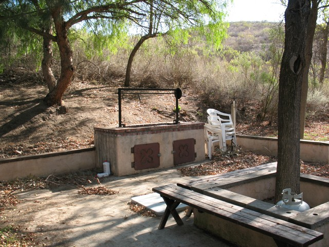 Another view of the B-B-Q area.  Note the mountain in the background. There are hiking trails where we can take morning or sunset walks.